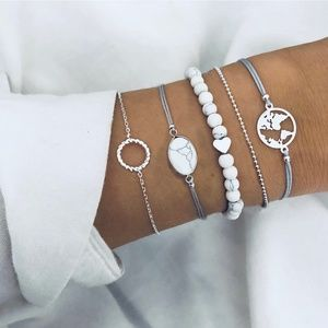 *JADEN* 5-Pc Silver Map Fashion Bracelet Set